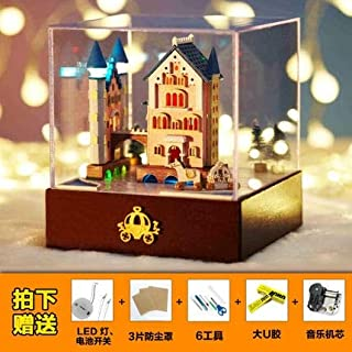 VDT Music Box The Carousel Ornaments Boutique DIY Music Box Wooden Box Sky City Girls Birthday Gift