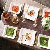 MALACASA, Serie Flora, 18 TLG. Set CremeWeiß Porzellan Kaffeeservice Geschirrset mit je 6 Kuchenteller, 6 Tasse 220ml, 6 Untertasse für 6 Personen - 6