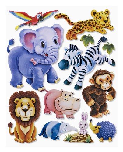 Stickerkoenig Wandtattoo 3D Sticker Wandsticker Kinderzimmer - niedliche Zootiere, Elefant, Löwe, Zebra, AFFE UVM - Deko auch für Fenster, Schränke, Türen etc auf Bogen