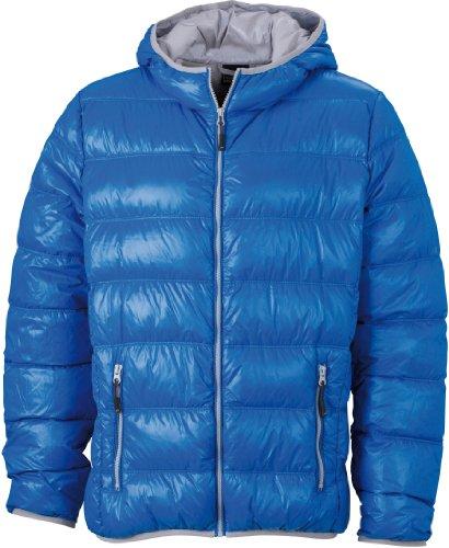 Ultraleichte Damen Daunenjacke mit Kapuze Farbe Blue/Silver Größe L