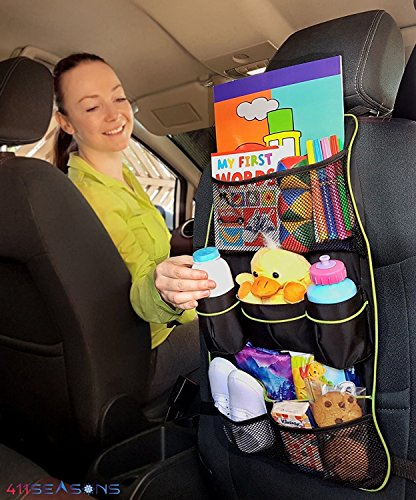Backseat Car Organizer and Protector for Kids Back Seat Storage withGift Bonus for Family Traveling