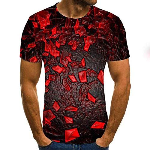 JKFDH 3D T-Shirt,Kreative Round Neck Short Sleeve Tops Neuheit Space Trümmer Druck Rot Grau Optische Täuschung Lässige Atmungsaktive Streetwear Für Frauen Mann Indoor Outdoor Sport, XXL