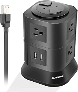 Power Strip Tower with 7 Multiple Plug Outlets 2 USB Ports, Convenient One-Way Push Button,Desktop USB Surge Protector Electric Charging Station for Home & Office (Black)-SAFEMORE