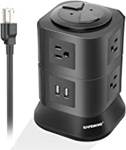 Power Strip with 7 Multiple Plug Outlets 2 USB Ports, Convenient One-way Push Button, Tower Surge Protector Desktop Power USB Charging Station for Home & Office (Black)-SAFEMORE