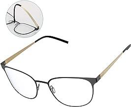 Blue Light Filter Glasses, Avoalre Gaming Reading Glasses for Phone Computer Use, Anti Eyestrain UV Blocker Clear Lens Ultra Lightweight Square Nerd Frame Eyeglasses for Men Women, Gold (0.00)