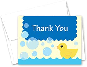 50 Cnt Yellow Duck Blue Bubbles Baby Shower Thank You Cards