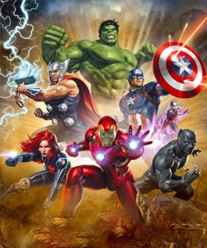 QIAOYUE Painting by Numbers DIY Painting Suite para Adultos y niños Principiantes Pintura Arte Lienzo preimpreso Hulk Capitán América Iron Man -con Marco