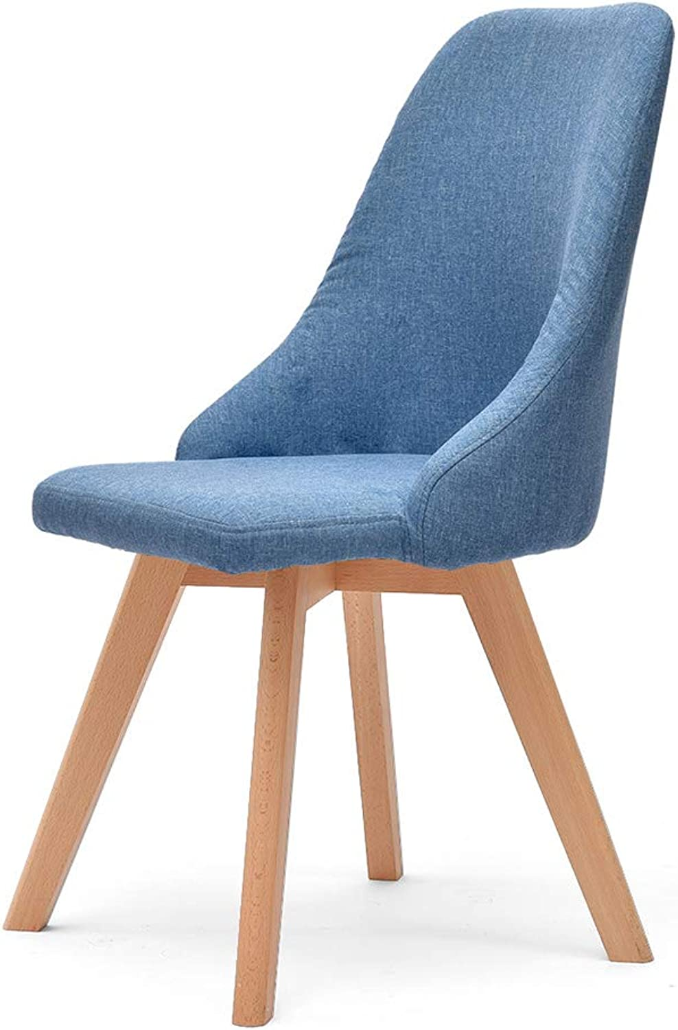 ZXQZ Solid Wood Chair, Backrest Chair Desk Chair with Cloth Art Bench for Home Adult Restaurant Stool (color   Lake blueeb)