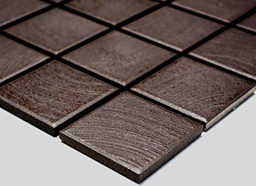 Mosaik Quadrat uni braun struktur rutschhemmend R10C Keramik rutschsicher trittsicher anti slip rutschfest Duschtasse Boden Küche Bad WC, Mosaikstein Format: 48x48x6 mm, Bogengröße: 306x306 mm, 1 Bogen / Matte