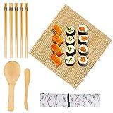 PHOAGRY 9 PCS Hacer Sushi kit Sushi Maker - 1 Esterilla sushi de Bambú, 1 Esparcidor de Arroz, 1 Cuchara (Paleta de Arroz), 5 pares de Palillos Sushi con 1 Bolsa para Cocineros y Principiantes