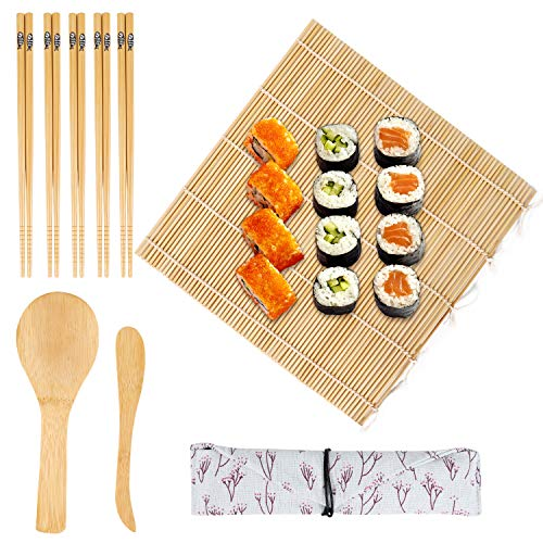 9-tlg Bambus Sushi set zum selber machen - 1 Bambus Sushi Matte, 1 Reisspreizer, 1 Löffel (Reispaddel), 5 Paar Sushi Stäbchen mit 1 Beutel für Köche und Anfänger