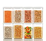 1100×8PIC unbreakable jar fully clearly jar and havy material and certified food grade material. unbreakable Freezer Safe. jar Storage Jar 1100 ml, Idle for Kitchen- Storage Box Lid Food Rice Pasta Pulses Container, Square Containers for Kitchen Set ...