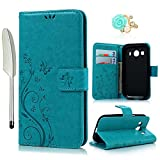 YOKIRIN Samsung Galaxy G357 Wallet Hülle Samsung Galaxy Ace 4 G357 SM-G357FZ (4.3 Zoll) Hülle Stand PU Leder Tasche Wallet Flipcase Schut Bookstyle Silikon Brieftasche Handyhülle Schmetterling Blau
