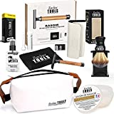 BARBER TOOLS Kit da barba Rasoio di sicurezza + Scatola da 40 doppie lame + Pennello da ba...