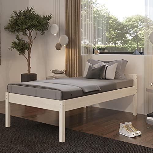 Seniorenbett 120x200 cm Triin Scandi Style aus hartem FSC Birken Massivholz - über 700 kg - Holzbett 55 cm hoch mit Kopfteil - Stabiles Einzelbett für Senioren