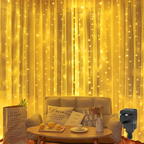 Curtain Light Mains Powered 2M x 2M Backdrop Window Curtain Lights Plug in Hanging Curtain Fairy Light Waterfall Light,204 LED,8Mode Connectable for Valentines Indoor Room(Warm White)