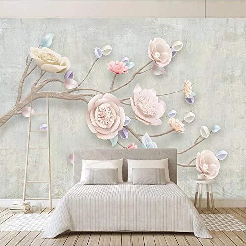 JIYOTTF Mural 3D Papel tapiz fotográfico Decoración de dormitorio infantilRosado estampado flores(W 300 x H 210cm) Papel pintado de la foto del arte Decoración de la pared Cartel Arte Mural de pared