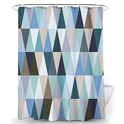 Alumuk Duschvorhäng, Duschvorhang Anti-Schimmel Bad Vorhang Textil aus Polyester Stoff Wasserabweisend Shower Curtain Anti-Bakteriell mit 12 Duschvorhangringen (StyleE, 180 x 180 cm)