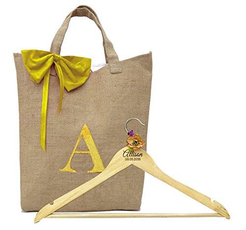 Dama de honor le agradece bolsa de regalo Bolsa personalizada y nombre grabado de madera Percha encargo del regalo para la dama de honor / dama de honor por Darling, recuerdo