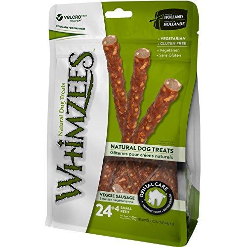 WHIMZEES Natürliche Getreidefreie Zahnpflegesnacks, Kaustangen für Hunde, Veggie-Wurst S, 28 Stück à 15 g