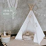 [page_title]-Tipi Dreamin Kinderzelt für Jungen und Mädchen - Tolles Indianer Tipi Zelt für Kinder aus Baumwolle und Naturholz - Perfekt fürs Kinderzimmer, drinnen und draußen - Teepee mit Bodenmatte