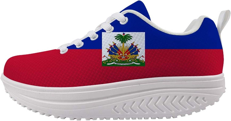 Owaheson Swing Platform Toning Fitness Casual Walking shoes Wedge Sneaker Women Haiti Flag