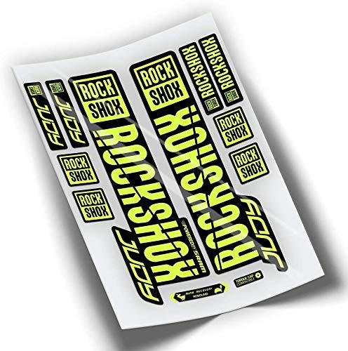 PEGATINEA Decals Autocollants DE Fourche ROCKSHOX Judy 2019 WP278 Jaune Fluor