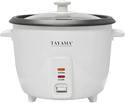 Tayama RC-8 Rice Cooker with 8 Cup Steam Tray, White