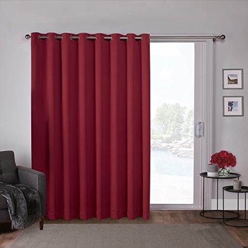 Exclusive Home Curtains Ati Home Cortina de satén Opaca con Ojales sólidos en la Parte Superior para Patio, Chili, 100x84, 1, 1