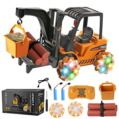 Remote Control Forklift Toy for Boys - RC Cars for Kids - 1:18 Scale 4WD RC Trucks Vehicles with Lights & Music, 360 Rotation, Programming - RC Crawler Drift Cars Toy - Kids Gift for Boys Girls Teens