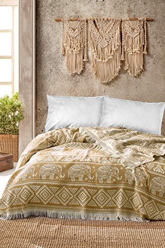 BOHORIA® Premium Tagesdecke Bali | 100prozent Baumwolle | Oeko-Tex® | Bettüberwurf Wohndecke Wendedecke Sofadecke mit Muster | extra-groß 220 x 240 cm (Elephant Tuscan Sun)