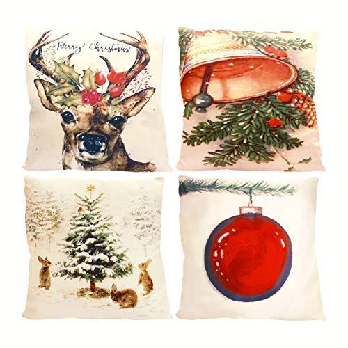 GEETUBERRY Burlap Rustic Pillow Throw Covers (Satin Set of 4 (Reindeer), 18 x 18)