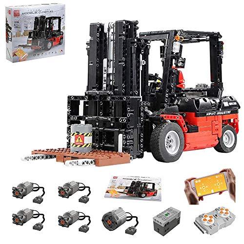 Technik Gabelstapler Modell mit Motoren, Akku/Empfänger und Fernsteuerung, 1719 Teile Technik-Modell Gabelstapler Bauset Kompatibel mit Lego Technik