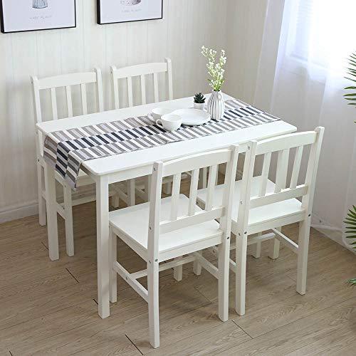 Essgruppe mit 1 Tisch 4 Stühle, Holz Tischgruppe Esstischset Sitzgruppe Esstischgruppe Esszimmergarnitur für 4 Personen, Esszimmergruppe für Küche Wohnzimmer Weiss 6116-D01