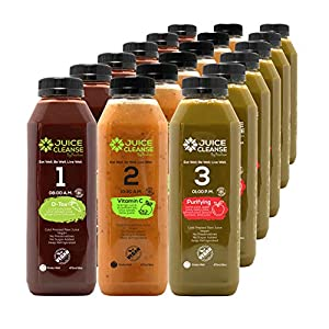 Cold Pressed 6 Day 1/2 Juice Cleanse Program - Natural Detox – Organic Plant Based – Weight Loss Program – Healthy Vegan Diet – Fresh Raw Green Vegetables (18 Total 16 oz. Bottles) (6 Day) by Blue DP Group