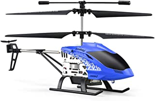 DishyKooker Helicopter with Remote Control Takes Off by One Key Barometric Height Alloy Fuselage Crashworthiness Blue (English Version)