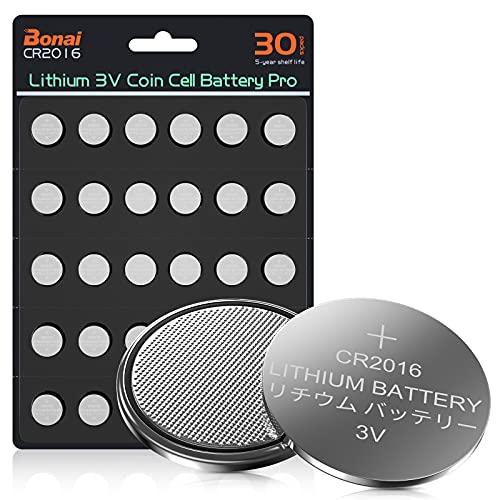BONAI Pilas de Botón de Litio CR2016 de 3 V, Lithium Coin Cell Paquete de 30.