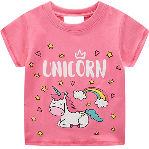 Camisetas Bebé Niñas Tops y Blusas Manga Corta Caballo Unicornio Lentejuelas Animal Print Rosa Verano Casual Novedad Partes de Arriba Redondo Ropa 1 2 3 4 5 6 7 Años