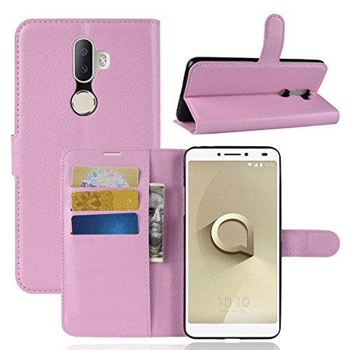 LMFULM® Hülle für Alcatel 3V 5099D (6 Zoll) PU Leder Magnet Brieftasche Lederhülle Litschi Muster Standfunktion Ledertasche Flip Cover für Alcatel 3V Rose