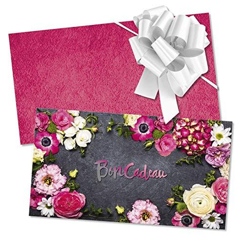 50 Bons cadeaux + 50 enveloppes + 50 noeuds rubans avec des motifs pour fleurs fleuristes magasins de fleurs. Recto à haute brillance. BL1248F