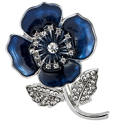 bennyuesdfd Red Poppy Brooch Flower Broach Lapel Pin Diamante Crystal Banquet Red Poppy Flower Remembrance Gift (blue)