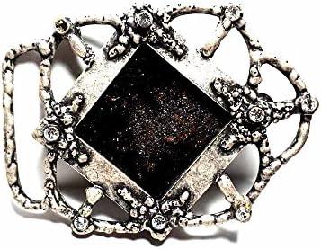 artigianale Hebilla para cinturón de 4 cm, cristal Murano esmalte negro, color plateado antiguo, hebillas de metal o piedras o brillantes o esmaltes o cristales muranos y 1 llavero de 1 CC