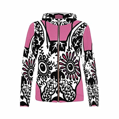 InterestPrint Women's Casual Sweatshirt Casual Soft Full Zip Up Hoodie French Bulldog Sugar Skull L