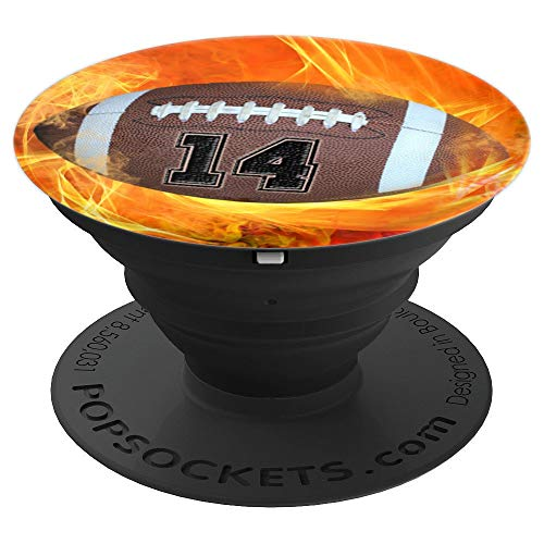 American Football Number 14 Lucky Number Flame - Football - PopSockets Grip and Stand for Phones and Tablets