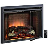 PuraFlame Klaus Electric Fireplace Insert with Fire Crackling Sound, Glass Door and Mesh Screen, 750/1500W, Black, 29 15/16 Inches Wide, 23 3/16 Inches High