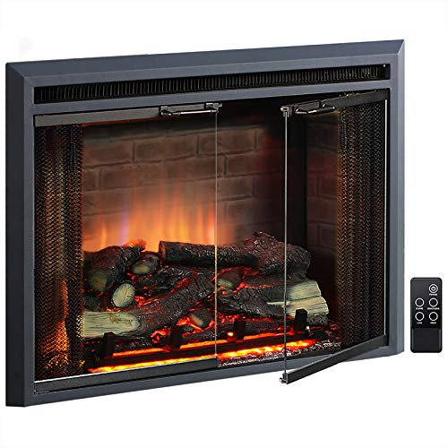 PuraFlame Klaus Electric Fireplace Insert with Fire Crackling Sound, Glass Door and Mesh Screen, 750 1500W, Black, 29 15 16 Inches Wide, 23 3 16 Inches High