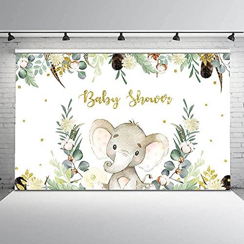 Hintergründe Elefant Hintergrund für Neugeborene Baby Fotografie Dusche Hintergrund für Fotostudio Dschungel Party Dekoration Vinylboden anpassen-5x3FT