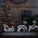 vidaXL Trineo y renos decoración de Navidad de jardín 60 LED plateado