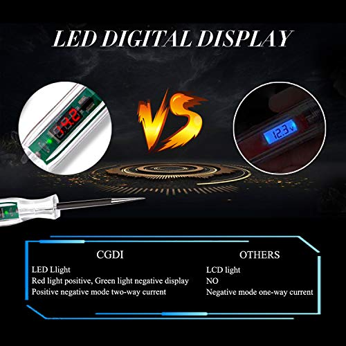 CGDI Upgraded Digital LED Automotive Circuit Tester, 3-32V Test Light with 96 Inch Extended Spring Wire, Vehicle Circuits Low Voltage L   ight Tester with Sharp Stainless Probe