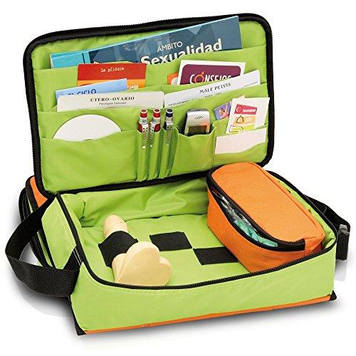 Maletín de educación sexual | Modelo EDUSEX´S | Elite Bags | Medidas: 40 x 24 x 16 cm | Colores juveniles y alegres: naranja y verde | Material resistente y lavable | Para fomentar una vida sexual san ✅